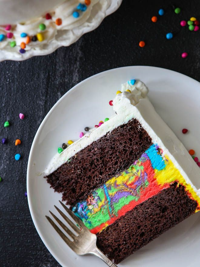 This fun, festive, and easy chocolate rainbow ice cream cake is perfect for celebrating!