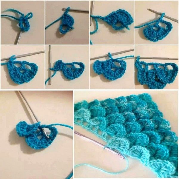 Easy crocodile points on yarns in crochet patterns explications tutorial - FREE PATTERNS