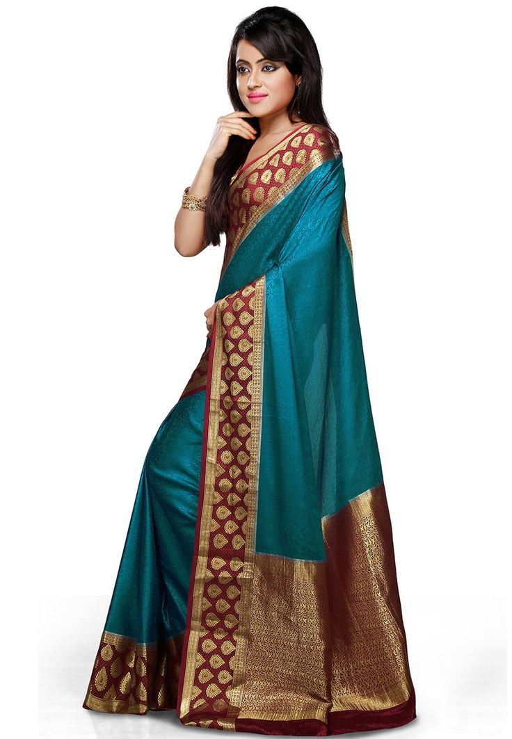 Buy Royal Blue and Maroon Pure Mysore Silk Saree with Blouse online, work: Woven, color: Maroon / Royal Blue, usage: Wedding, category: Sarees, fabric: Silk, price: $238.25, item code: SHU241, gender: women, brand: Utsav