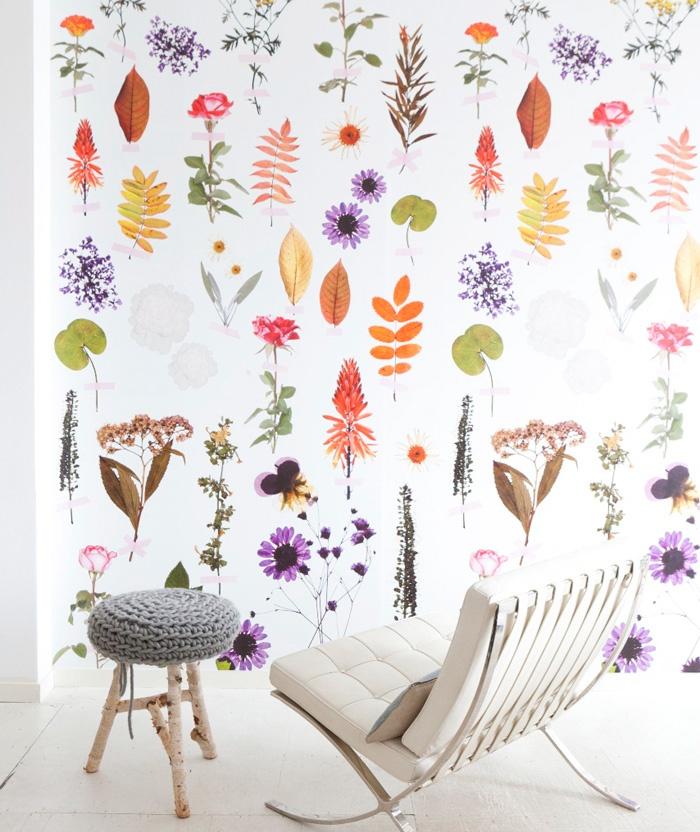 Fotobehang, vrolijke kleuren, bloemen en bladeren