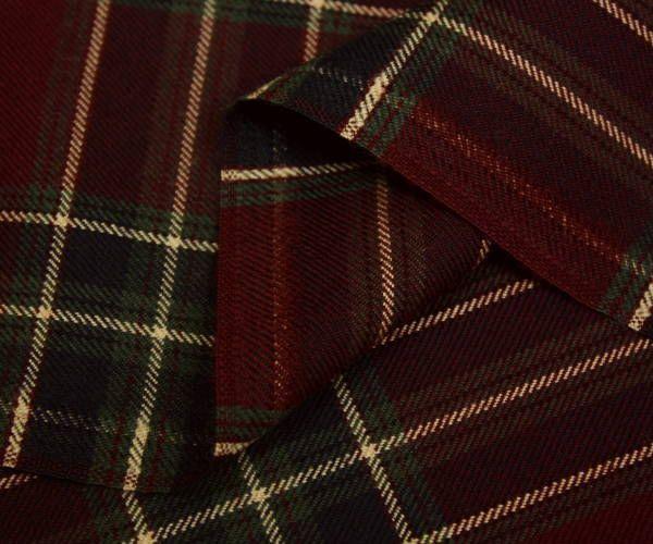 エンジ&グリーンにクリームラインのタータンチェック♪日本製上質ウール100% ツイル先染め生地♪スカート,パンツ,ワンピース等に♪W巾150cm 防縮加工 布 布地 服地 通販 激安 ウール チェック ウール生地 チェック柄 毛 綾織り