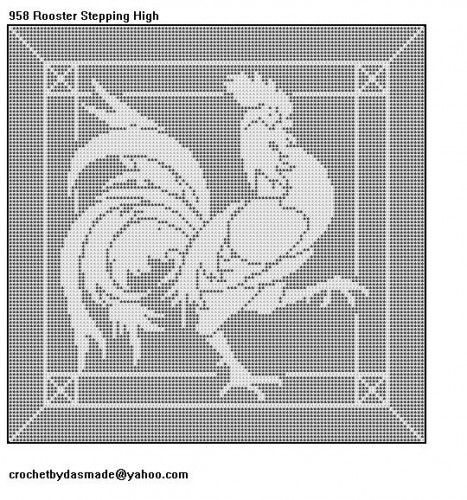 958 Rooster Stepping High Filet Crochet Doily Pattern