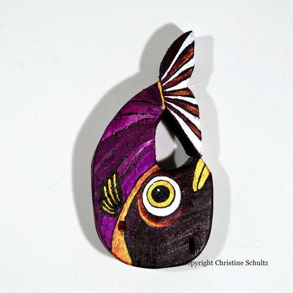 Painted Wood FIsh Decor, Purple Folk Art. $55.00, via Etsy.