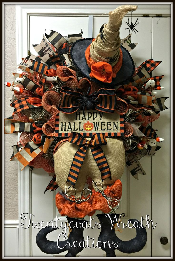 Halloween burlap witch wreath made from deco mesh and burlap by Twentycoats Wreath Creations (2016)