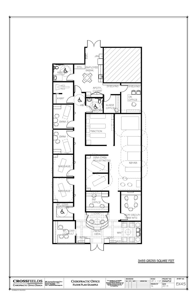 Chiropractic office floorplan with meeting room 3493 square feet