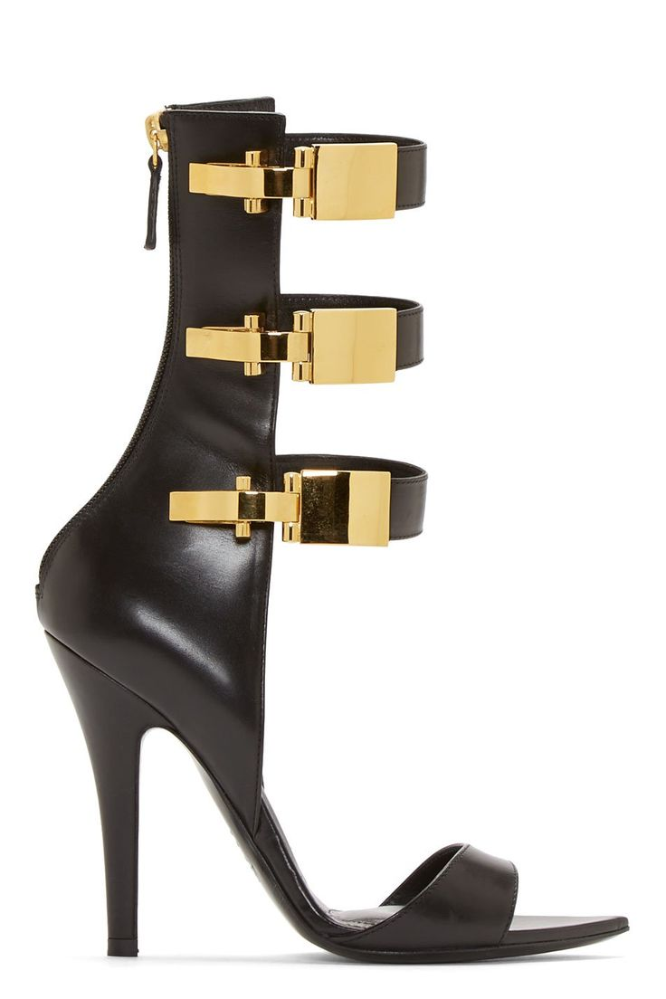 Versus Black Leather Calf-High Anthony Vaccarello Edition Sandals