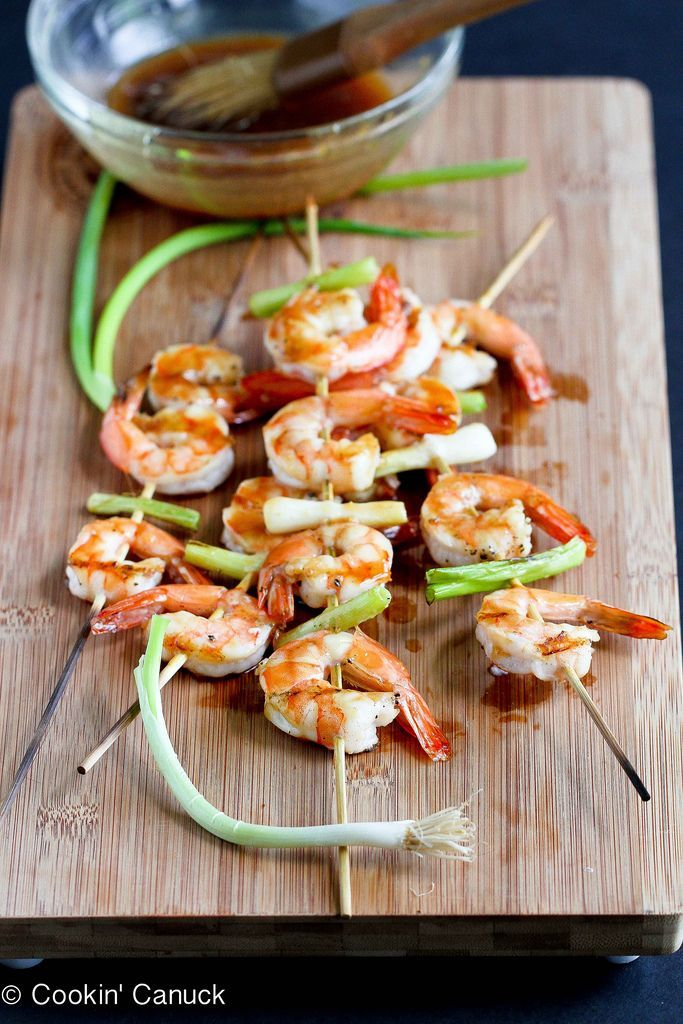 Grilled shrimp go from good to great when brushed with a teriyaki sauce that is low on sugar but high on flavor.