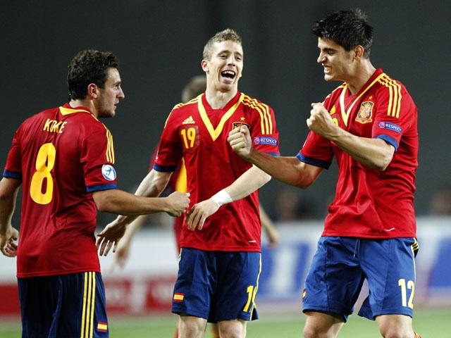 ~ Alvaro Morata celebrating his goal with Koke and Iker Muniain on the U-21 Spain National Team ~
