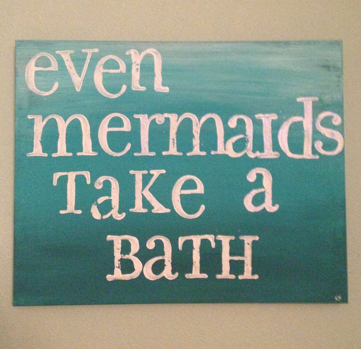 Even mermaids take a bath. Canvas and letter stamps with acrylic paint and glitter. Ombré. For our mermaid bathroom.