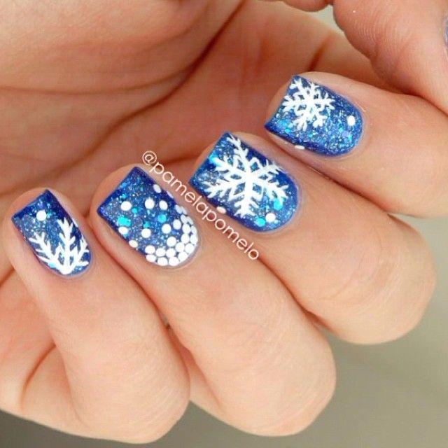 Deep Blue nails snow scene