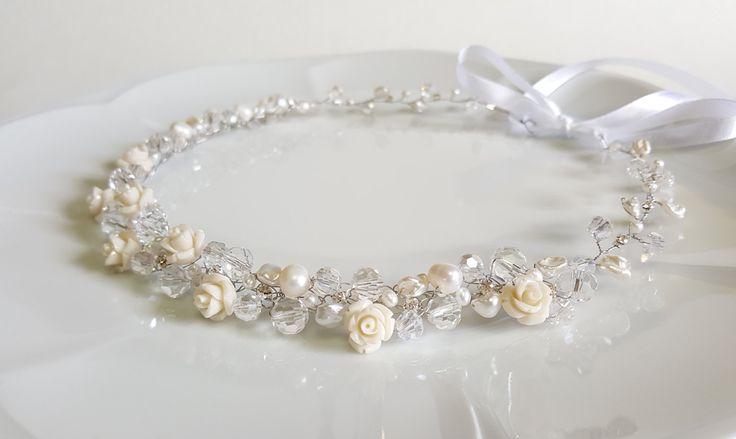 Flower Bridal Tiara,Wedding Headpiece,Roses Crown,Pearls Bridal Headpiece,Bridal Hair Accessories,Flower Girls,Headband by CySShell by CyShell on Etsy