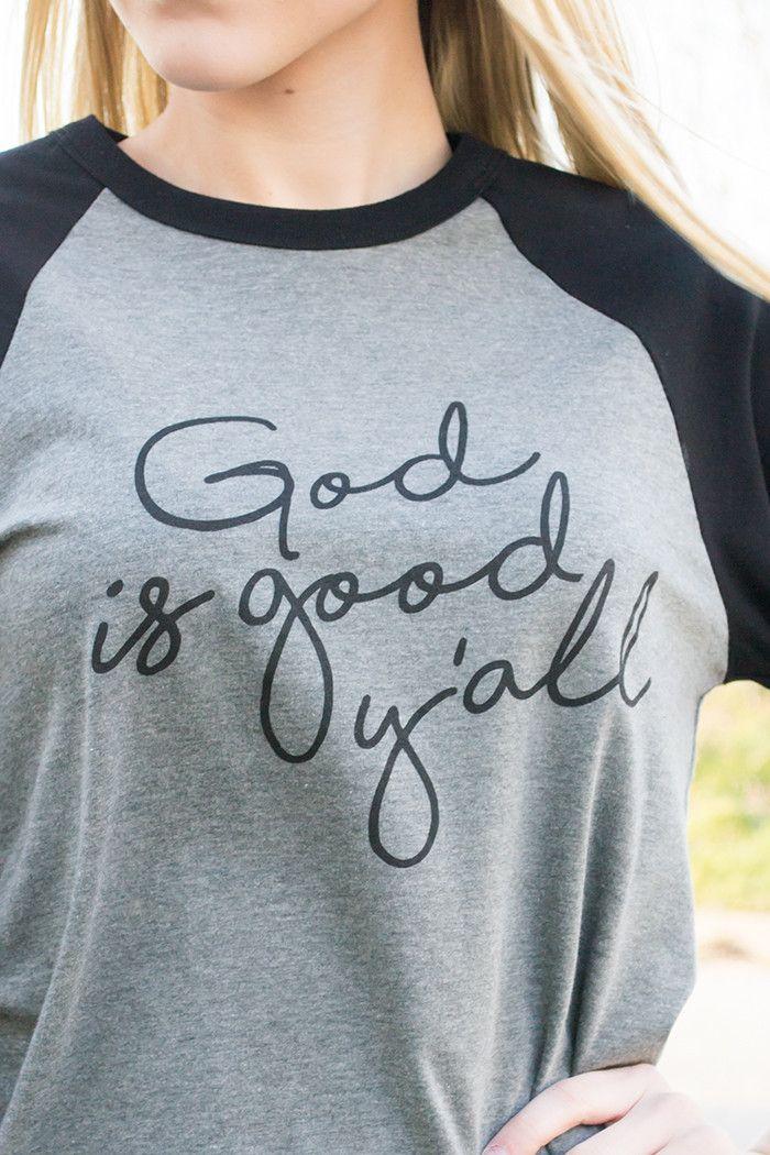 God Is Good Y'all Baseball Graphic Tee Shirt