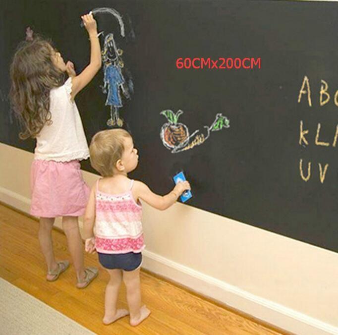 """60 ס""""מ x 200 ס""""מ ויניל לוח וגיר מדבקות Blackboard נשלף מתנה גדולה ציור ילד מדבקות לוח ילדים"""