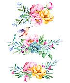 Colorful floral collection with roses,flowers,leaves,succulent plant