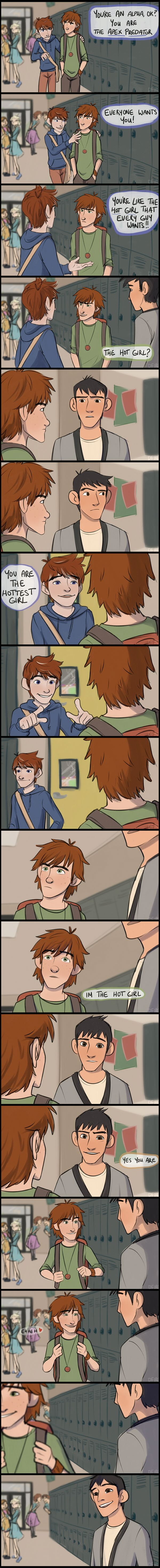 "hiccups the hot girl by derpfiree on DeviantArt . Ok, this is awesome because they did the scene with Stiles and Scott from Teen Wolf like about how Scott is ""The hot girl/ Alpha"", but with disney caracters. Stliles is Jack( Frost ), Scott is Hiccup and Isaac is Tadashi. ( Rise of the guardians, How to train your dragons, Big hero 6). Also you can see Elsa, Anna, Rapunzel and Flynn in the back."