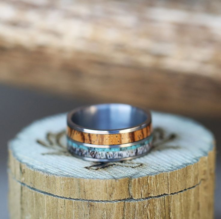 Whiskey barrel, elk antler & turquoise wedding band, handcrafted by Staghead Designs.