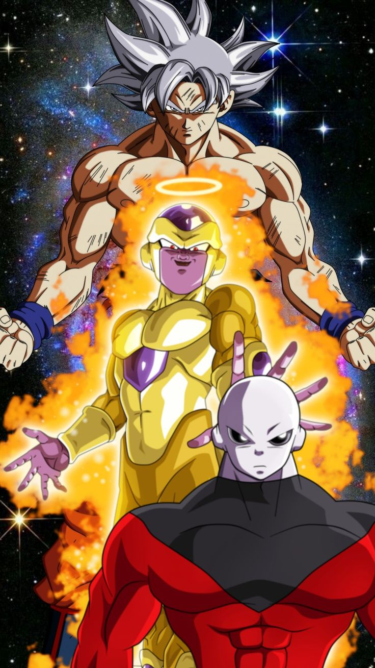 Jiren, Goku, and Golden Frieza