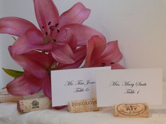 used natural wine cork wedding place card holders vineyard name table