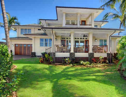 multiple roof projections, deep lanai, and lava stone columns..... beautiful Hawaiian Style Home.