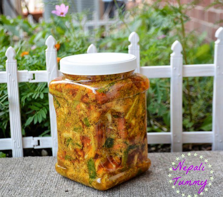 Kadheko Tarkariharu ko Achar (Mixed Vegetables Pickle) Recipe!! Nepali Tummy