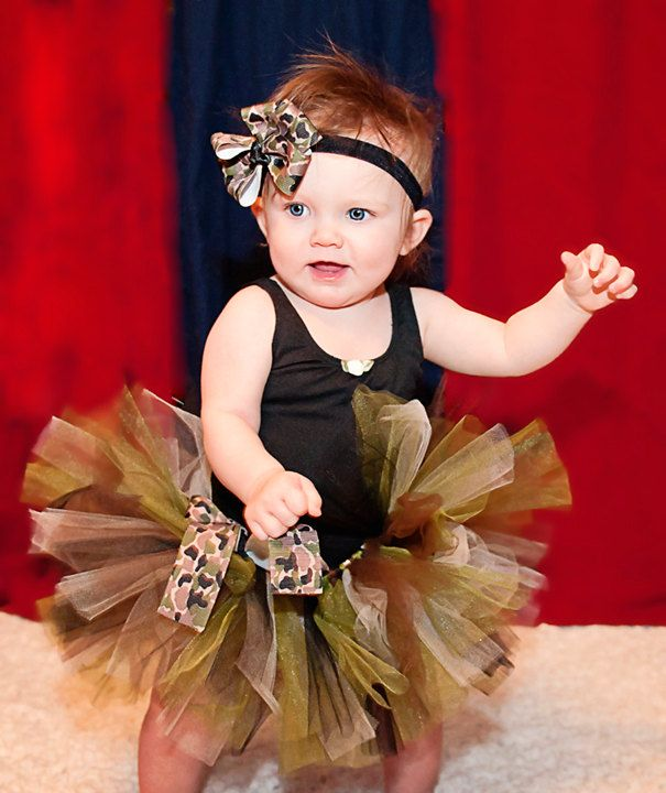 How f-ing cute is this with the matching camo headband?! $25.00, via Etsy.