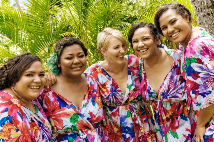 The girls are looking forward to a fabulously colourful day!! Love their robes! #preparation #wedding #fijiwedding #robes #girlsjustwanttohavefun #weddingphotography