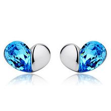 Unique Love Design Luxury Jewelry Double Faced 925 Silver Crystal Earring Brand Stud Earrings For Women Party Wedding E205(China (Mainland))