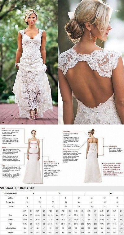 Wedding Dresses 15720 White Ivory Lace Bridal Gown Dress Open Back Size 6 8
