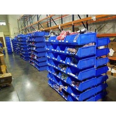 Bin Rack Storage System Shelf Organizer Office School Garage Warehouse Work - Blue (bins-large-20pack)