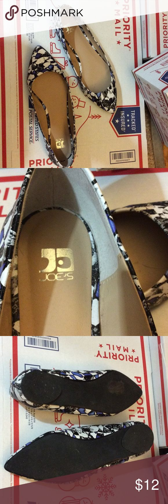 Super cute design Joe's shoe flats Joe's shoes Cute abstract design Pointy toe Gently used condition Leather upper man-made soles Joe's Jeans Shoes Flats & Loafers