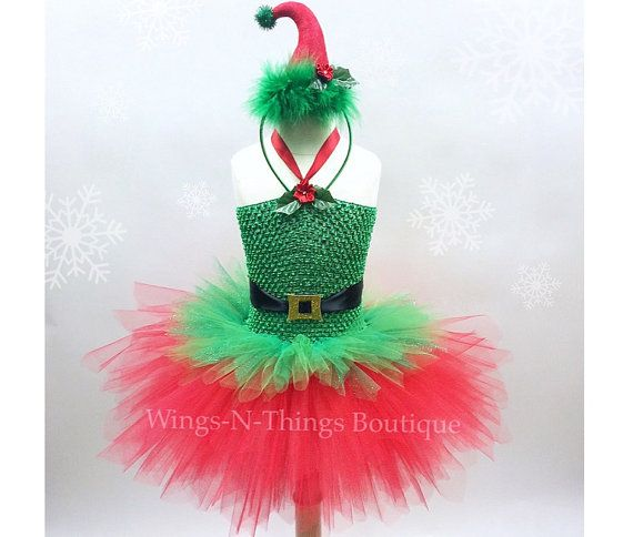 CHRISTMAS ELF TUTU Dress Set w/ mini Elf Hat Headband, Childrens Christmas Costume, Santa's Little Helper, Xmas, Girls, Toddler, Kids by wingsnthings13. Explore more products on http://wingsnthings13.etsy.com