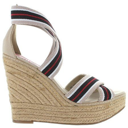 "MIA Women's Renagade Wedge Sandal,Nude Elast,7.5 M US. Ahoy there! Infuse your fair-weather wardrobe with some serious nautical style in MIA's Renegade sandal. This preppy offering in striped elastic boasts a secure fit thanks to an ankle strap and a generous espadrille platform and heel to make your sea legs sensational. A grippy sole keeps you steady in any conditions in MIA. Elastic Heel measures approximately 4.5"" Platform measures approximately 1.5"" This shoes / sandals / boots style..."