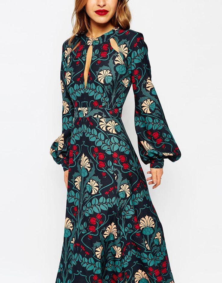 Image 3 of ASOS PETITE Floral Caftan Keyhole Maxi Dress