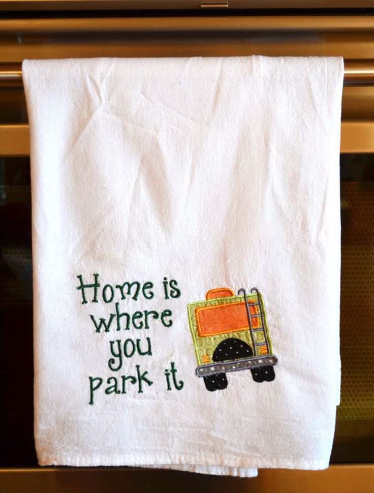 New to HandbagsByDyana on Etsy: Dish Towel Camping Towel Glamping  RV Decor Camping Decor RV Accessories Flour Sack Towel RV Gift Camper Decor Motorhome Decor (11.99 USD)
