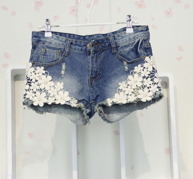Fashion Nice Blue Flower Lace Denim Shorts|Clothing & Apparel - ByGoods.com