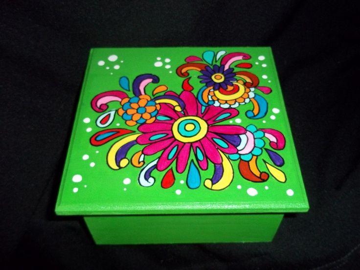 Cajas De Madera Pintadas A Mano - $ 159,00 en MercadoLibre
