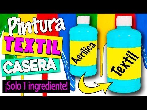 PINTURA TEXTIL casera * CONVIERTE pintura acrílica en textil con 1 SOLO INGREDIENTE - YouTube