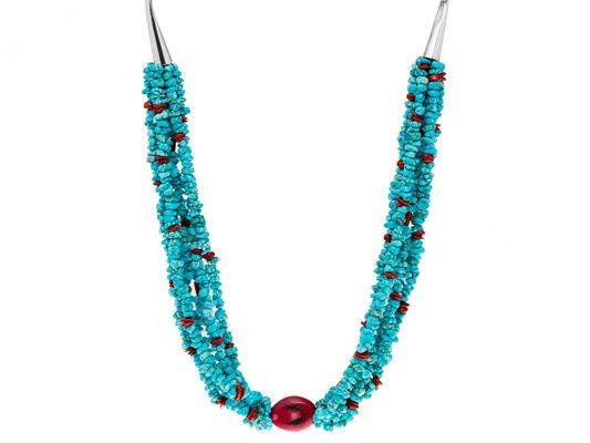 Southwest Style By Jtv(Tm) Turquoise With Coral Sterling Silver 6-stra