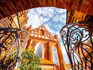 Vilnius Vilnius, Lithuania color landmark outdoor building Architecture arch cathedral window place of worship facade autumn