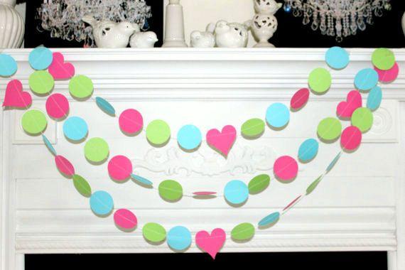 Papieren slinger 10ft-roze Lime Green Turquoise - bruiloft garland, partij Garland-verjaardag partij Decor - foto Prop - om het even welke gelegenheid Garland
