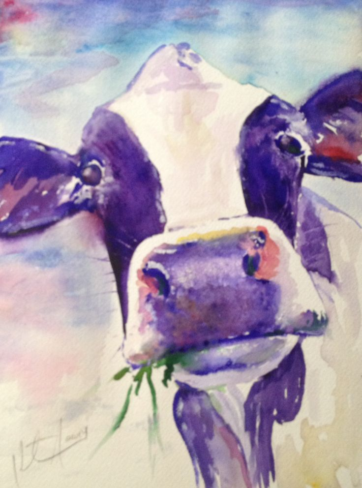 """""""I Never Saw a Purple Cow"""" Watercolor on paper, 9"""" x 11"""", 2014"""