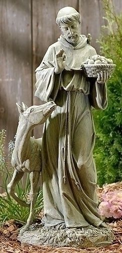 "Saint Francis Statue With Horse Garden Statue Peaceful Spiritual Figure 25.5""""T"