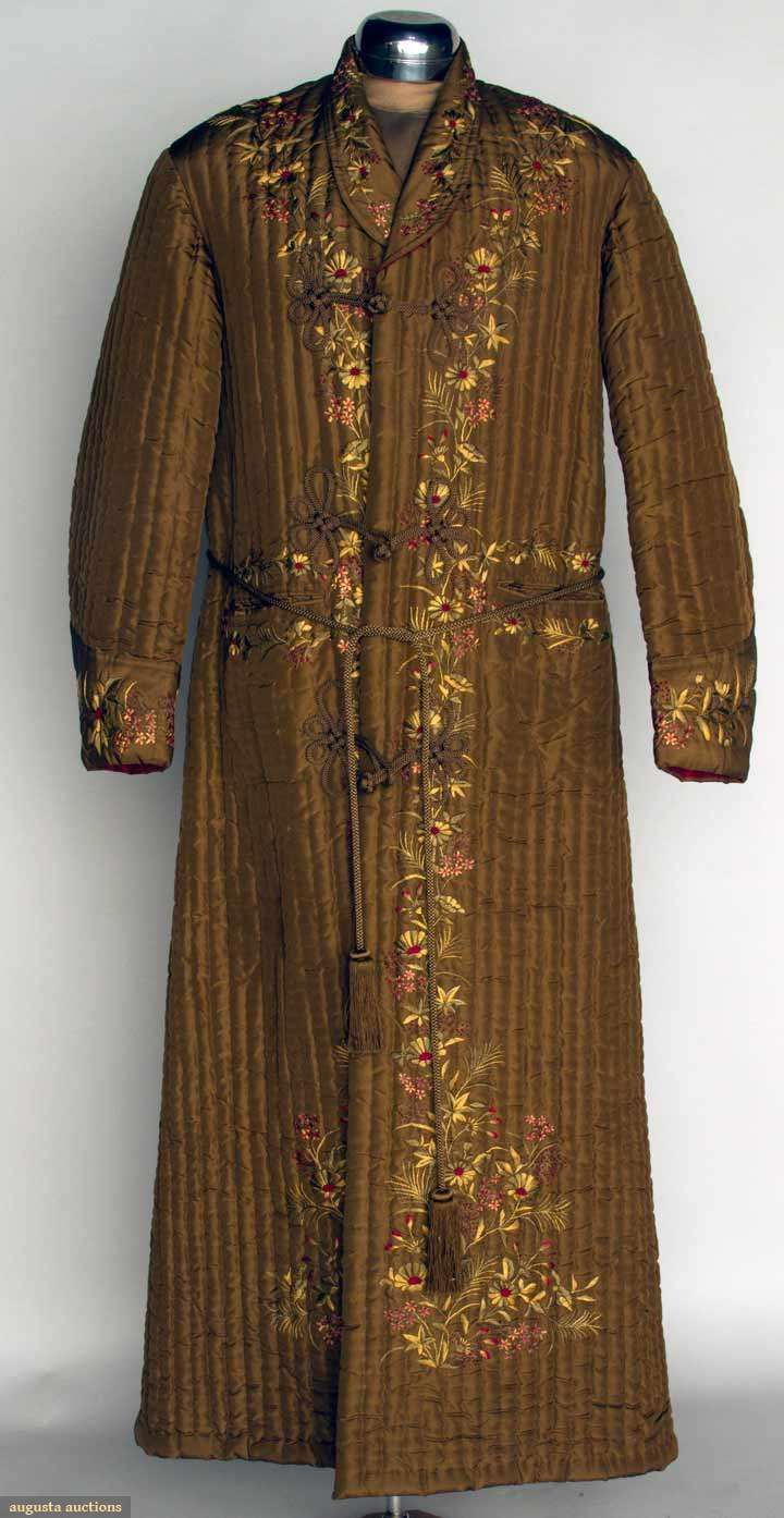 "MAN'S QUILTED SILK EXPORT ROBE, JAPAN, c. 1900 Cocoa brown w/ vertical quilting, perimeter w/ floral silk embroidery, frog closures, red silk lining, Ch 43"", L 57"", excellent."