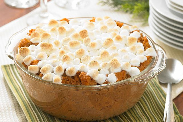 Is sweet potato casserole a dessert or a vegetable side dish? However you view it, this one—glorious with marshmallows, cinnamon and nutmeg—is a winner.