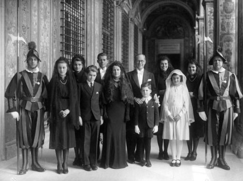 The Kennedy Family at the Inauguration of Pope Pius XII Today, foreign dignitaries gathered from around the world to watch Pope Francis be inaugurated as the 266th Pope of the Catholic church. As the Ambassador to Great Britain in 1939, Joseph Kennedy and his family attended the same event for Pope Pius XII. Pictured here, the Kennedy family gathers for a quick photo-op before the ceremony. Pictured (left to right, back row) Patricia Kennedy, John F. Kennedy, Joseph P. Kennedy, Eunice…