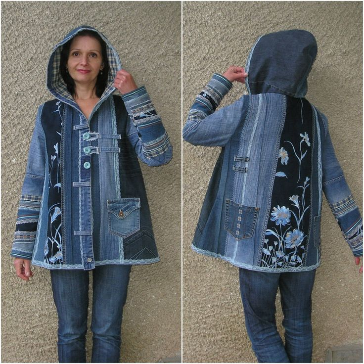 One of a kind hooded A-line denim jacket. Panels of various denim fabrics were sewn together with decorative seams. Unlined. Bottom hem and hood were edged with bilateral sky blue lace. Three functional patch pockets. Front closure with two mint green buttons with fabric hooks, beneath them -