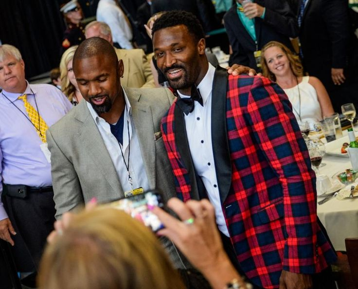 7/23/2016 Charles Woodson and James Jones Packer Hall of Fame Banquet. Love JJ's jacket!