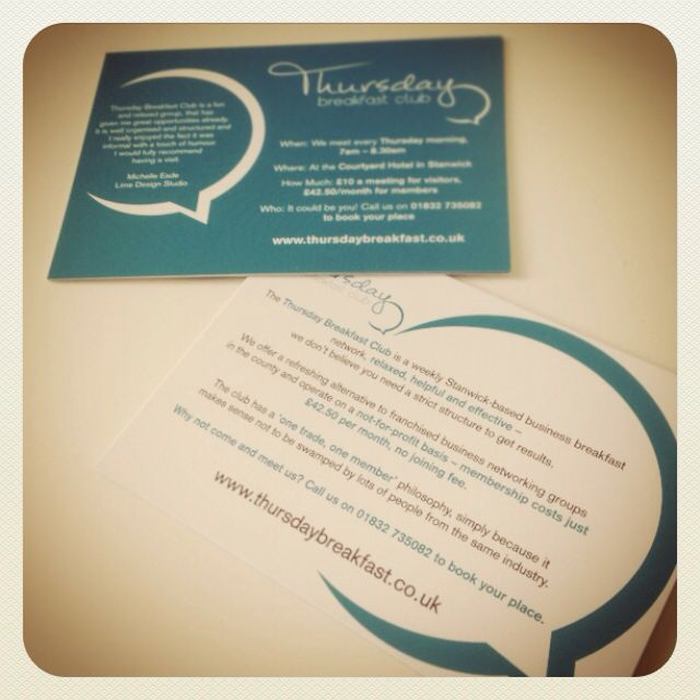A6 flyers for Thursday Breakfast networking group. They're 350gsm Silk, digitally printed both sides