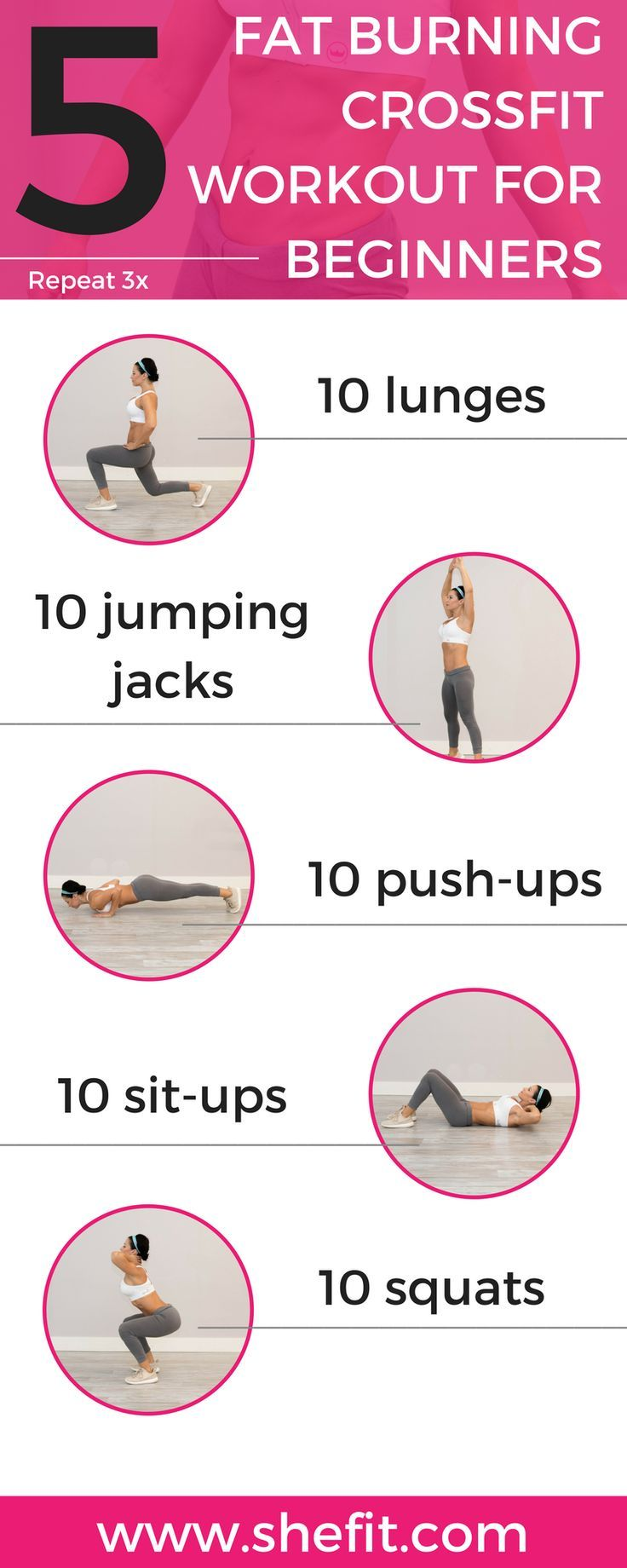 You don't have to be a high-level fitness athlete to perform CrossFit's high-intensity fitness routines. There are plenty of CrossFit workouts for beginners that will help you build muscle & get killer abs you've always wanted. CrossFit WODs guaranteed to increase your fat-burning potential + they done at-home – no equipment necessary. | Full Body Workout Outfits  for Women via #Shefit High Impact Sports Bra for Big Busts | Cute #SportsWear for Running | #ActiveWear for Large Breasts