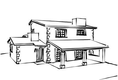 Vista de boceto de vivienda rustica realizado con trazos